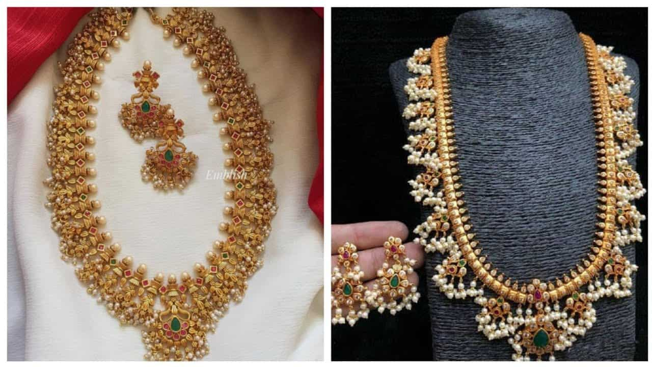 Long-haram-with-pearlbridal-necklaceswedding-jewelleryantique-jewellerygold-necklace-designs Jpg